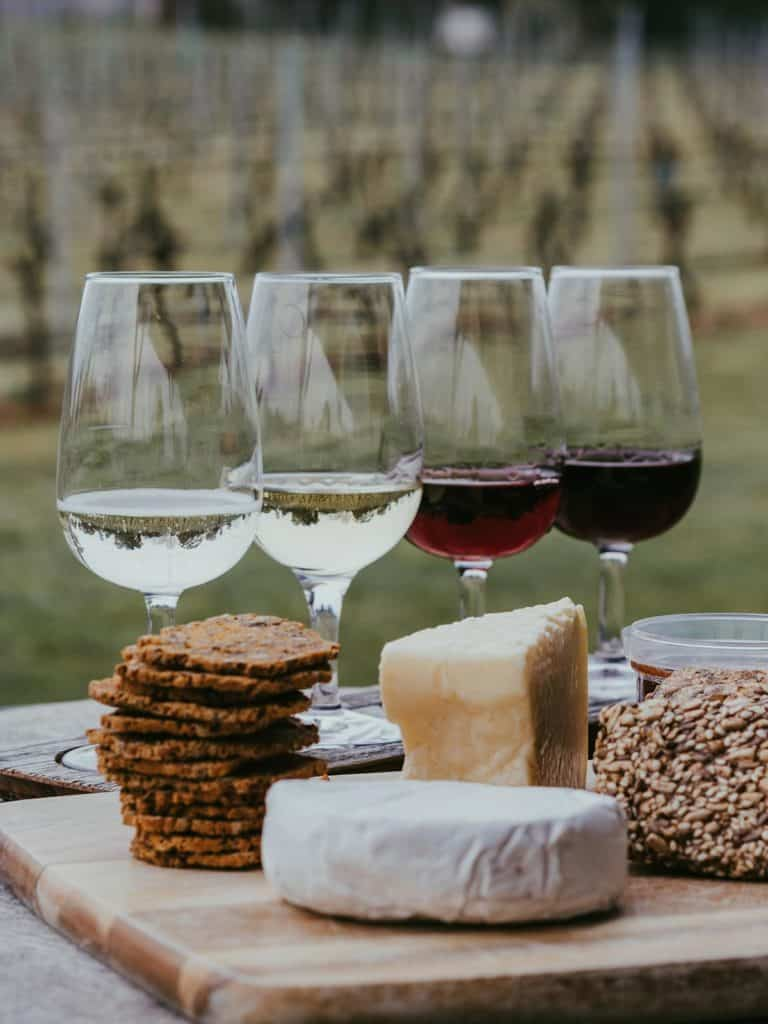 Four glasses of various wines stand alongside fresh cheese and crackers at the vineyard